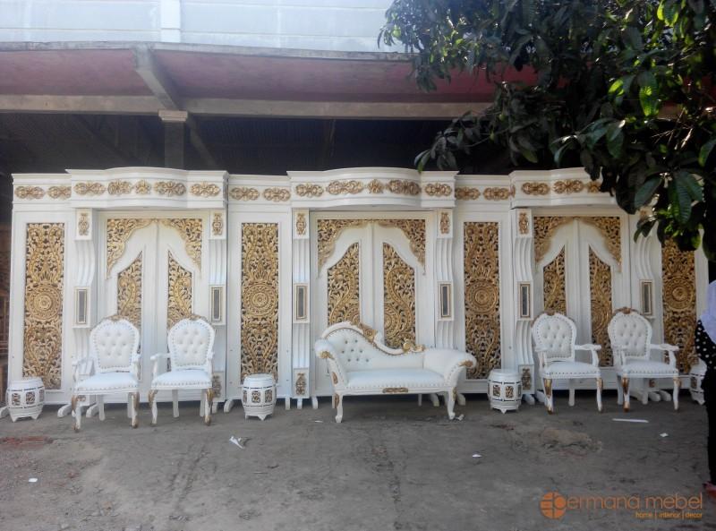 dekorasi pelaminan minimalis, jual dekorasi pernikahan murah, mebel dekorasi pelaminan, dekor murah, gebyok pelaminan murah