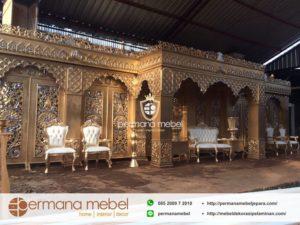 Dekorasi Pelaminan Maroko Full Gold