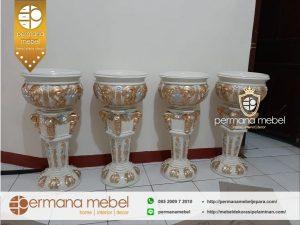 Pedestal Pot Vas Bunga Pelaminan Ukir Kayu