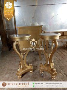 Meja Pot Bunga Kayu Gold Terbaru