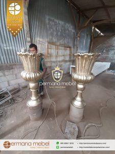 Vas Pot Bunga Jamur Pelaminan Kayu